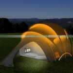 Solar Powered Tent At Night